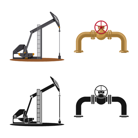 Isolated object of oil and gas icon. Set of oil and petrol stock vector illustration. Illustration