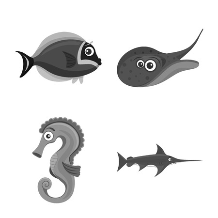 Isolated object of sea and animal. Collection of sea and marine vector icon for stock.