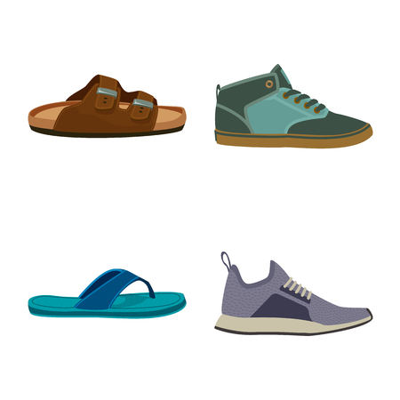 Vector design of shoe and footwear icon. Collection of shoe and foot stock symbol for web. Standard-Bild - 116095489