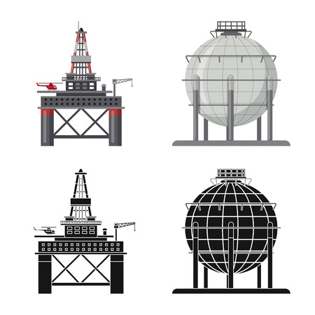 Vector illustration of oil and gas icon. Set of oil and petrol stock vector illustration. Vektorové ilustrace
