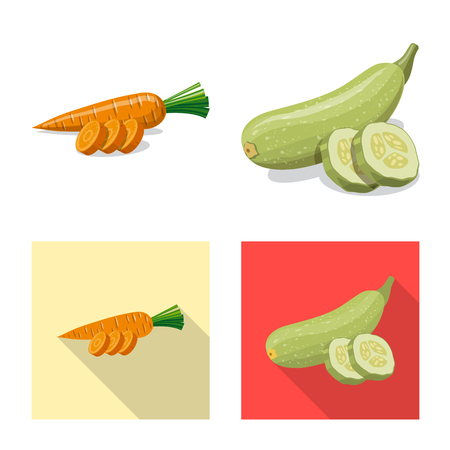 Isolated object of vegetable and fruit sign. Set of vegetable and vegetarian stock vector illustration. Zdjęcie Seryjne - 116101713