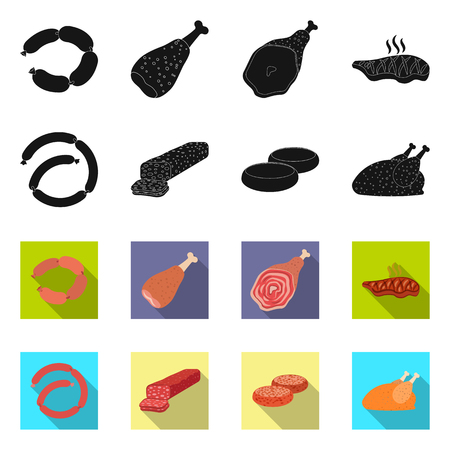 Vector illustration of meat and ham logo. Collection of meat and cooking vector icon for stock.