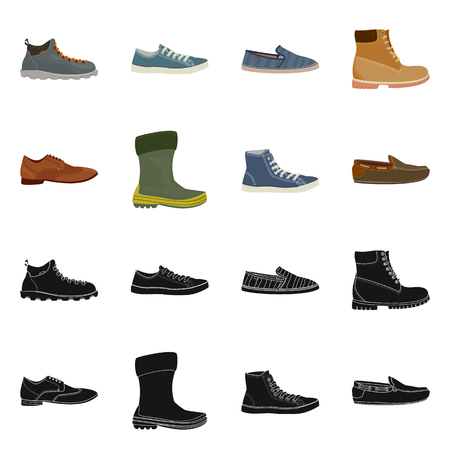 Vector design of shoe and footwear sign. Collection of shoe and foot vector icon for stock.