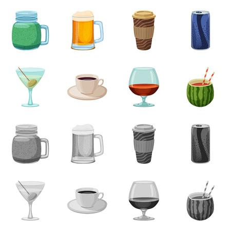 Illustrazione vettoriale di drink e bar logo. Set di drink e party stock illustrazione vettoriale.