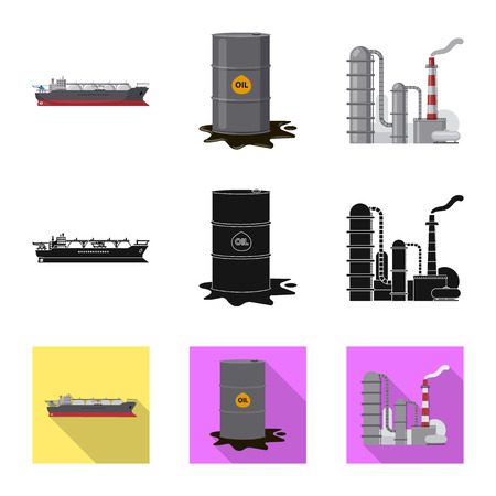 Isolated object of oil and gas logo. Set of oil and petrol vector icon for stock.