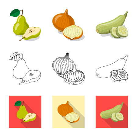 Vector illustration of vegetable and fruit logo. Collection of vegetable and vegetarian stock symbol for web. Ilustracja