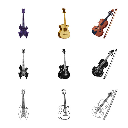 Isolated object of music and tune sign. Collection of music and tool stock symbol for web. Banque d'images - 116245454