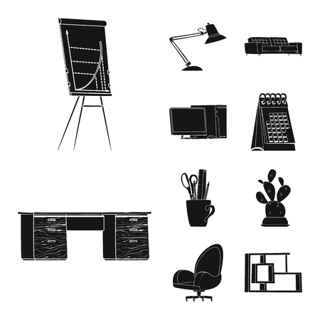 Isolated object of furniture and work logo. Collection of furniture and home stock vector illustration.