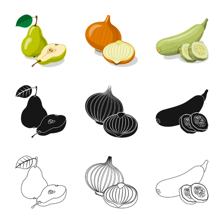 Isolated object of vegetable and fruit symbol. Collection of vegetable and vegetarian stock vector illustration.
