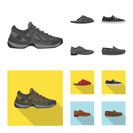 Vector illustration of shoe and footwear symbol. Collection of shoe and foot vector icon for stock. Vector Illustration
