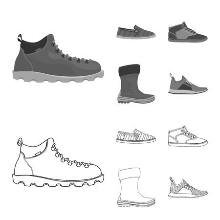 Isolated object of shoe and footwear sign. Collection of shoe and foot vector icon for stock.
