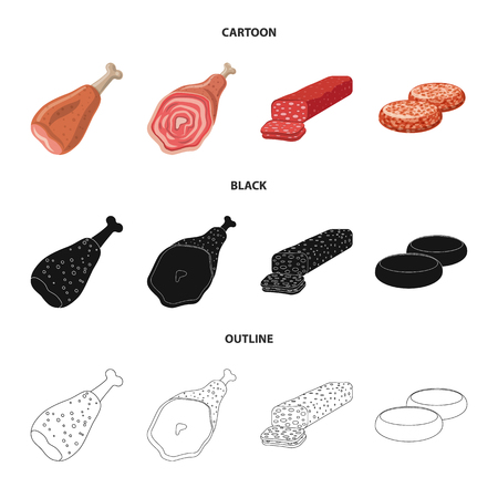 Vector illustration of meat and ham logo. Set of meat and cooking stock symbol for web.