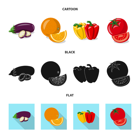 Vector illustration of vegetable and fruit icon. Set of vegetable and vegetarian stock symbol for web.