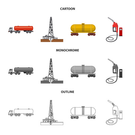 Vector illustration of oil and gas icon. Collection of oil and petrol vector icon for stock. Иллюстрация