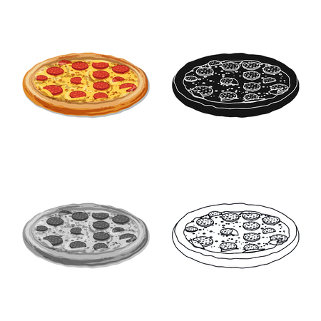Vector design of pizza and food sign. Collection of pizza and italy stock symbol for web. 일러스트