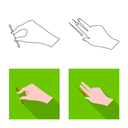 Isolated object of touchscreen and hand logo. Set of touchscreen and touch stock symbol for web. Illustration