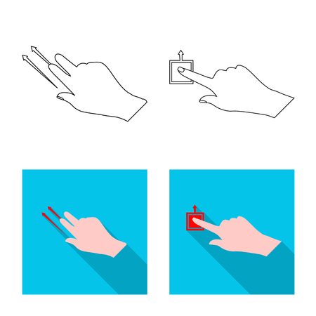 Isolated object of touchscreen and hand sign. Collection of touchscreen and touch stock vector illustration.