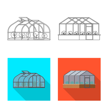 Vector design of greenhouse and plant icon. Set of greenhouse and garden vector icon for stock.