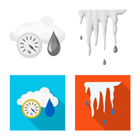 Isolated object of weather and climate logo. Set of weather and cloud stock vector illustration. Logo