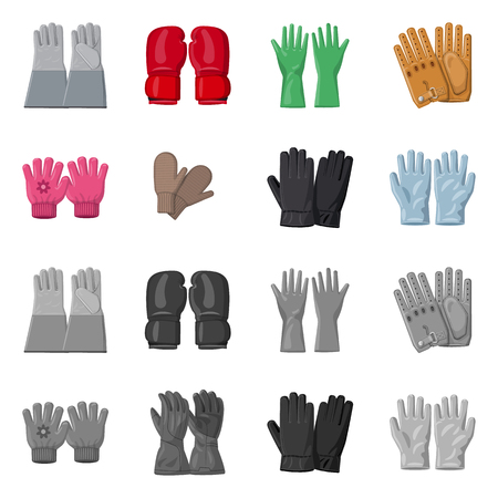 Isolated object of glove and winter sign. Collection of glove and equipment vector icon for stock. Vettoriali