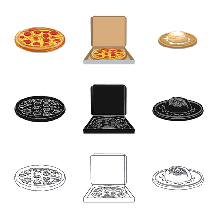 Vector design of pizza and food icon. Set of pizza and italy stock vector illustration.