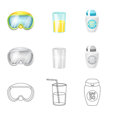 Isolated object of equipment and swimming logo. Collection of equipment and activity vector icon for stock.