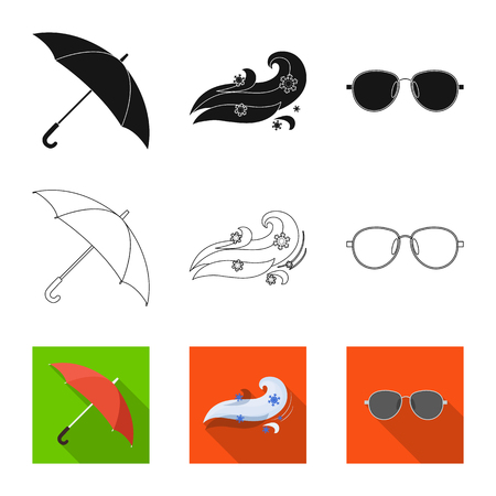 Vector design of weather and climate logo. Collection of weather and cloud vector icon for stock. Vectores
