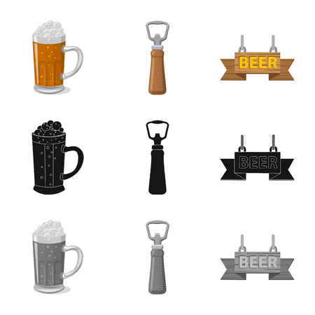 Vector design of pub and bar symbol. Set of pub and interior vector icon for stock.