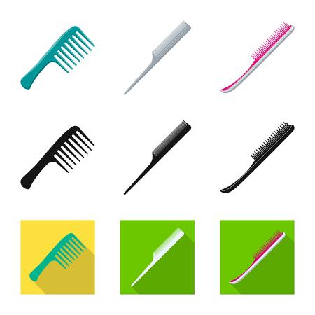 Vector design of brush and hair logo. Set of brush and hairbrush stock symbol for web.