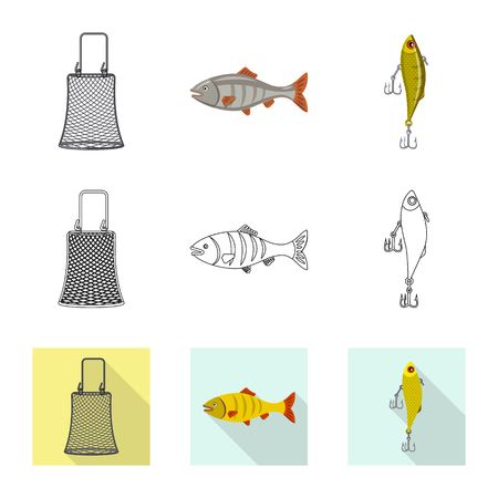 Vector design of fish and fishing logo. Set of fish and equipment stock vector illustration.