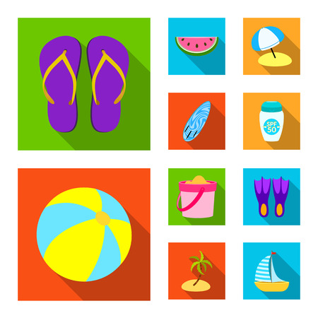 Vector design of equipment and swimming logo. Collection of equipment and activity stock symbol for web. Vectores