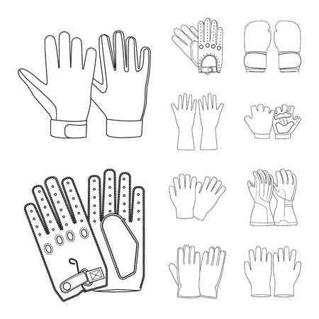 Vector design of glove and winter symbol. Set of glove and equipment vector icon for stock. Illustration