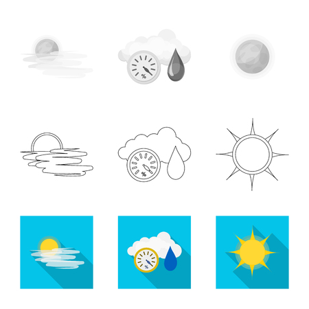 Vector illustration of weather and climate logo. Set of weather and cloud vector icon for stock.