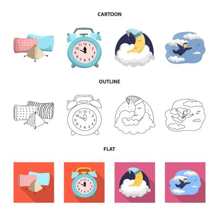Vektordesign der Träume und des Nachtlogos. Sammlung von Träumen und Schlafzimmervektorikone für Lager. Logo
