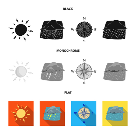 Vector design of weather and climate logo. Set of weather and cloud vector icon for stock.