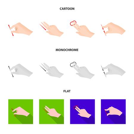 Vector design of touchscreen and hand logo. Set of touchscreen and touch stock vector illustration. Illustration