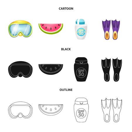Vector design of equipment and swimming icon. Collection of equipment and activity stock vector illustration. Illustration