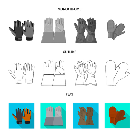 Vector design of glove and winter symbol. Set of glove and equipment stock symbol for web.