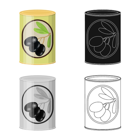 Isolated object of can and food sign. Set of can and package stock vector illustration. Illustration