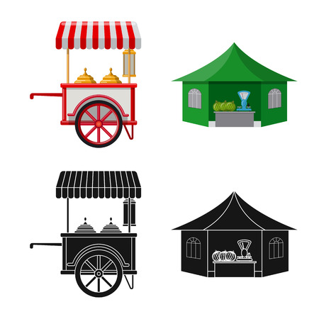Vector illustration of market and exterior logo. Set of market and food stock symbol for web.