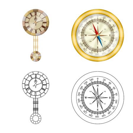 Isolated object of clock and time symbol. Collection of clock and circle stock symbol for web. Illustration