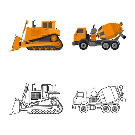 Isoliertes Objekt des Bau- und Konstruktionslogos. Sammlung von Bau- und Maschinenbestandsymbol für Web.