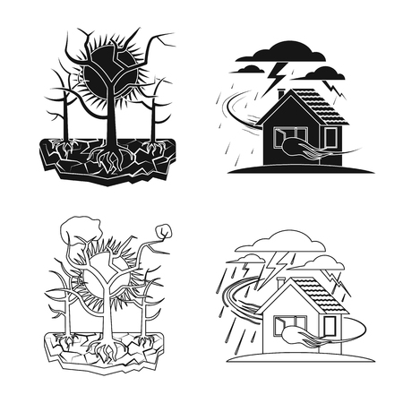 Vector illustration of natural and disaster logo. Collection of natural and risk stock symbol for web.
