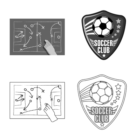 Vector design of soccer and gear logo. Collection of soccer and tournament stock vector illustration.