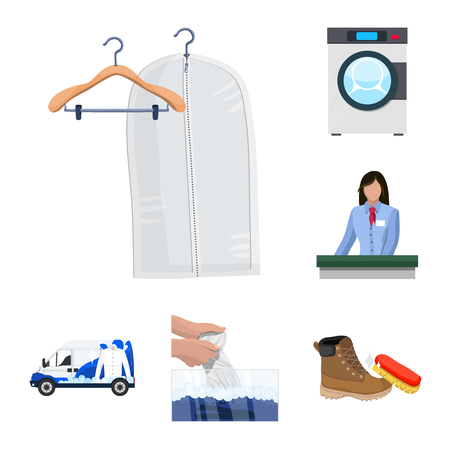 Isolated object of laundry and clean sign. Set of laundry and clothes stock vector illustration. Illustration