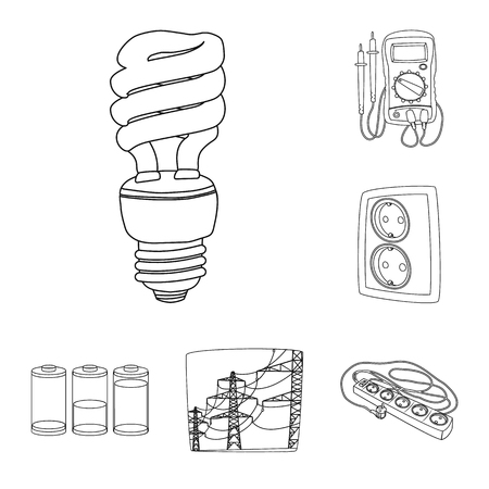 Isolated object of electricity and electric logo. Collection of electricity and energy vector icon for stock.