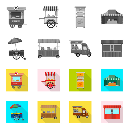 Vector design of market and exterior sign. Collection of market and food stock symbol for web. Stock Vector - 116374442