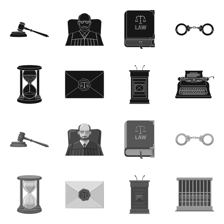 Isolated object of law and lawyer sign. Set of law and justice stock symbol for web. Ilustração