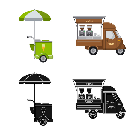 Vector illustration of market and exterior icon. Collection of market and food stock symbol for web. Stock Vector - 116375689