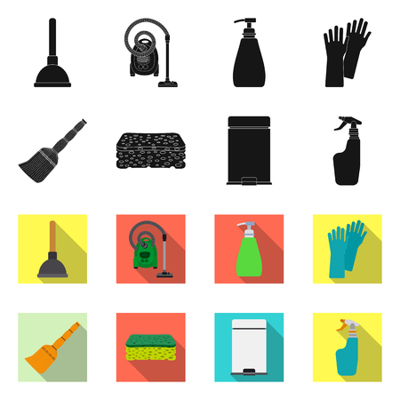 Vector illustration of cleaning and service icon. Set of cleaning and household stock symbol for web.